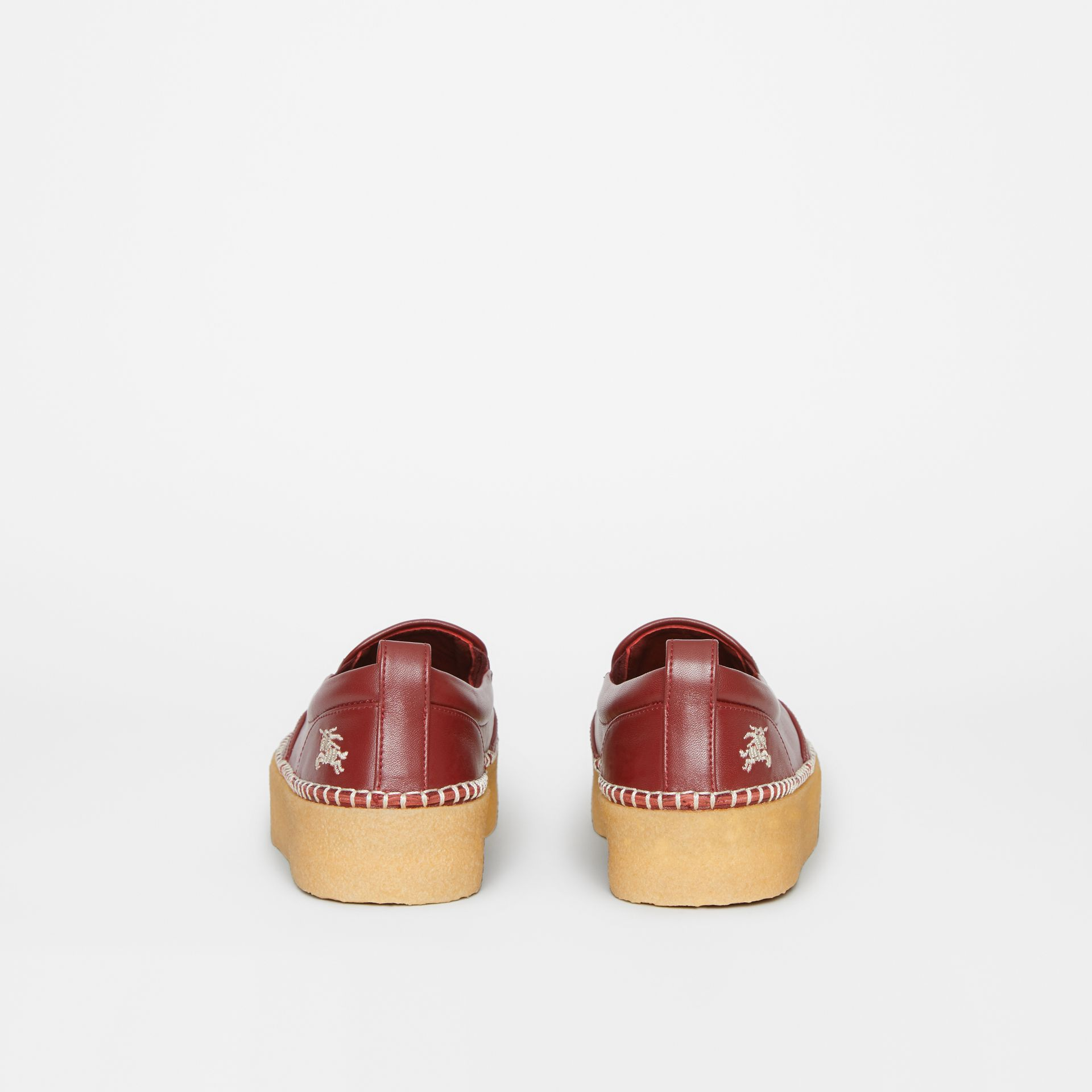 Leather Slip-on Sneakers in Bordeaux - Women | Burberry United States - gallery image 4