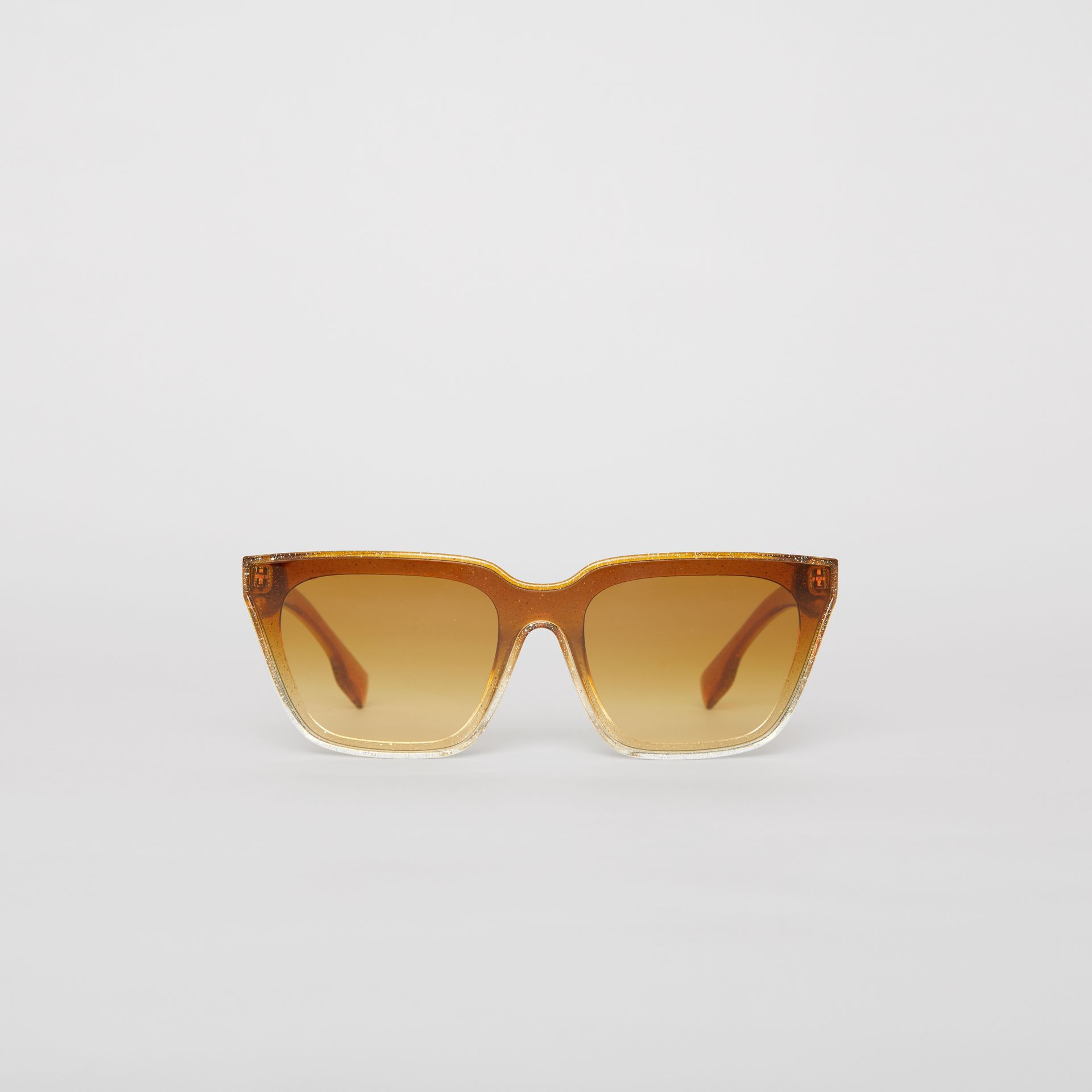 Glitter Detail Square Frame Shield Sunglasses in Yellow - Women | Burberry Singapore - gallery image 0