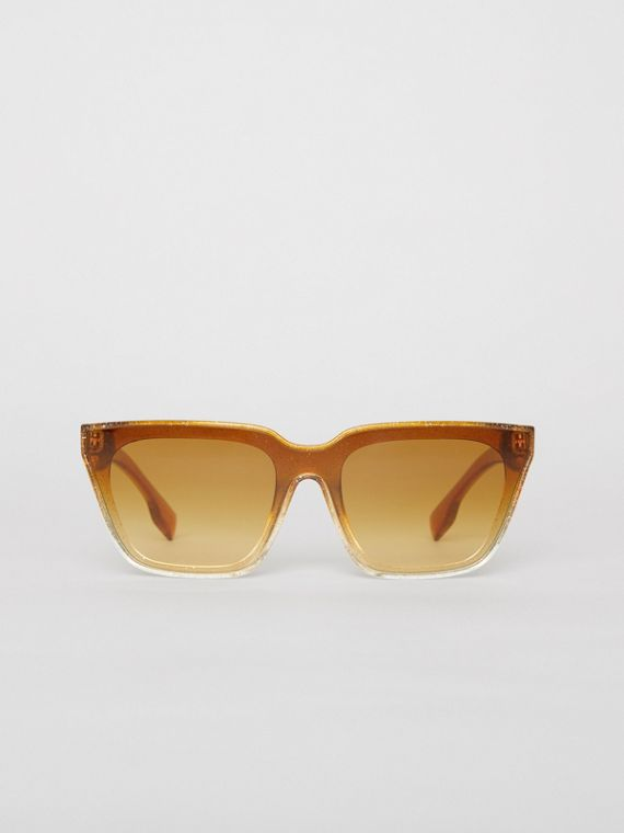 Glitter Detail Square Frame Shield Sunglasses in Yellow