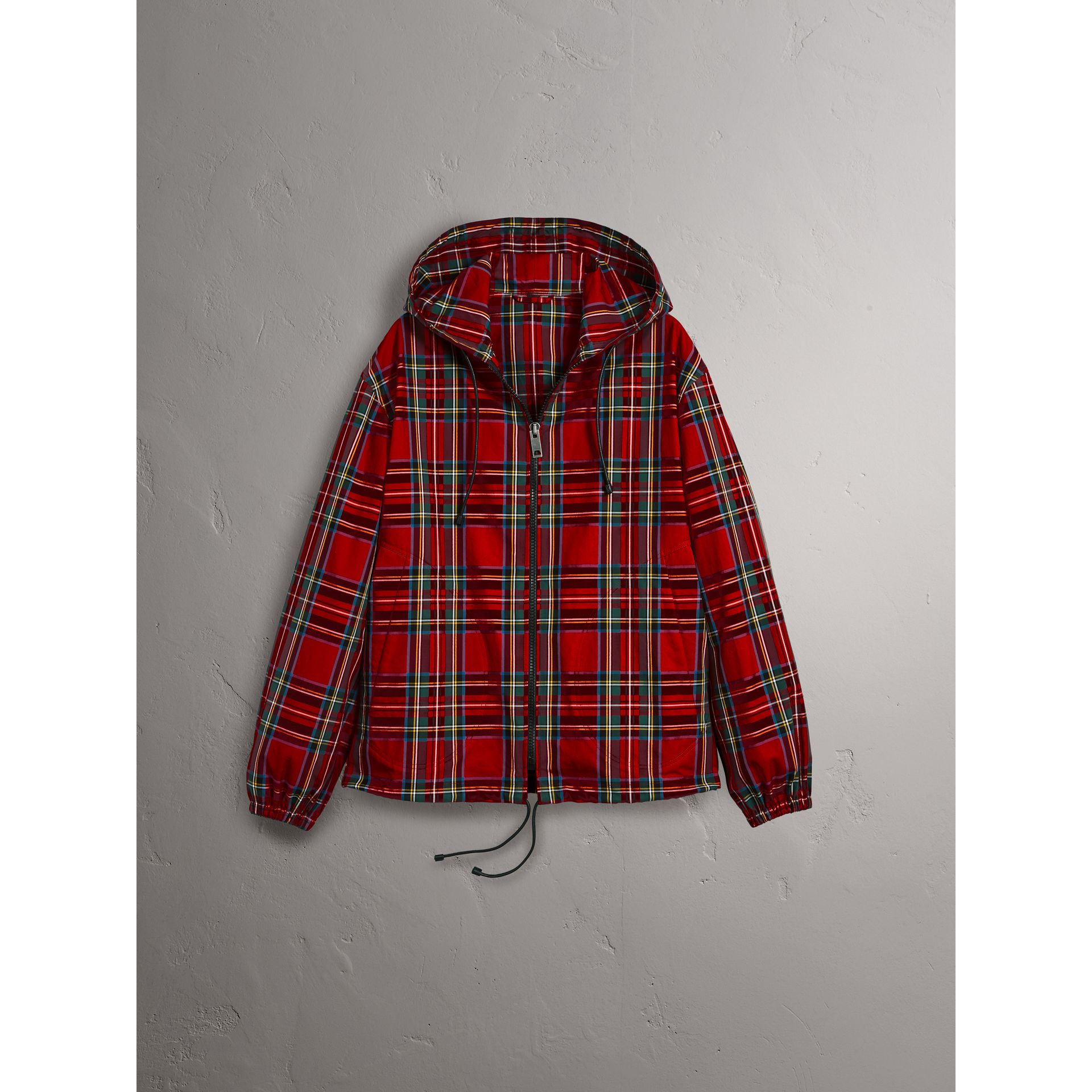 Tartan Cotton Hooded Jacket in Bright Red - Men | Burberry United Kingdom - gallery image 4