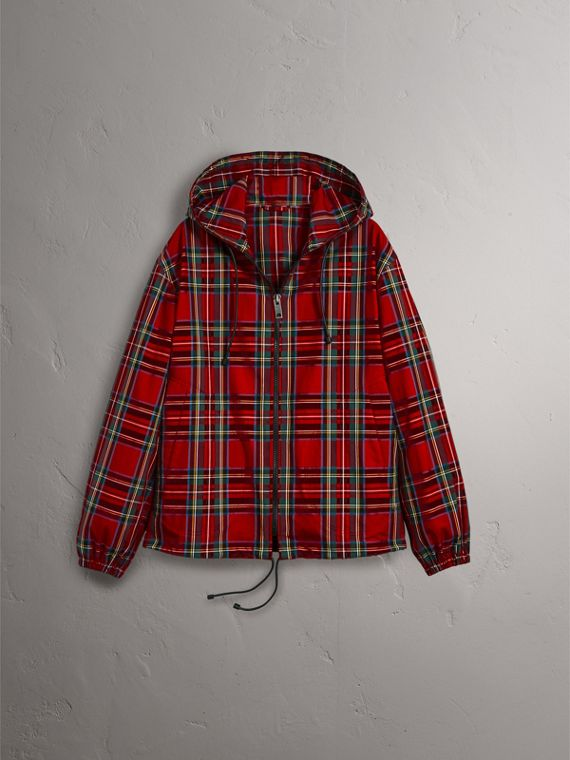 Tartan Cotton Hooded Jacket in Bright Red - Men | Burberry Canada - cell image 3