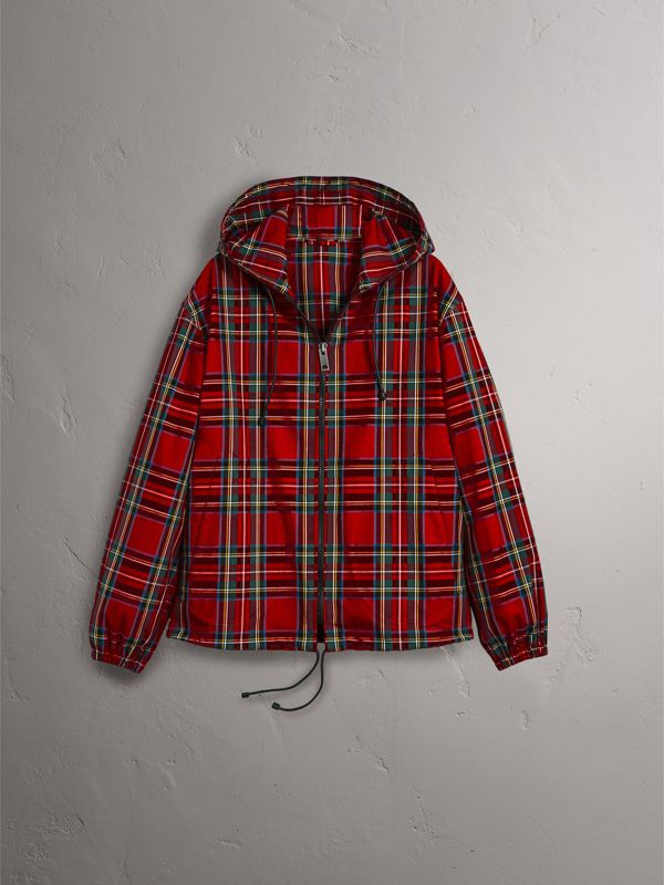 Tartan Cotton Hooded Jacket in Bright Red - Men | Burberry - cell image 3