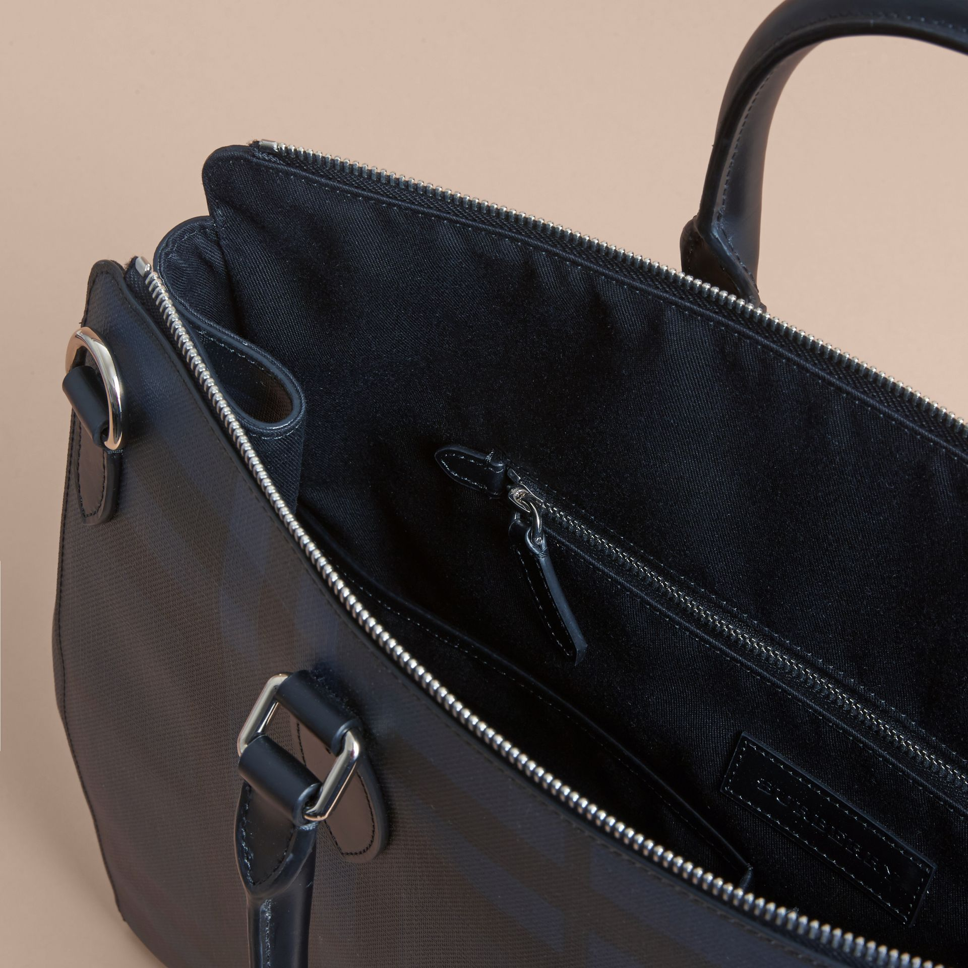 Large London Leather Briefcase in Dark Navy - Men | Burberry - gallery image 5