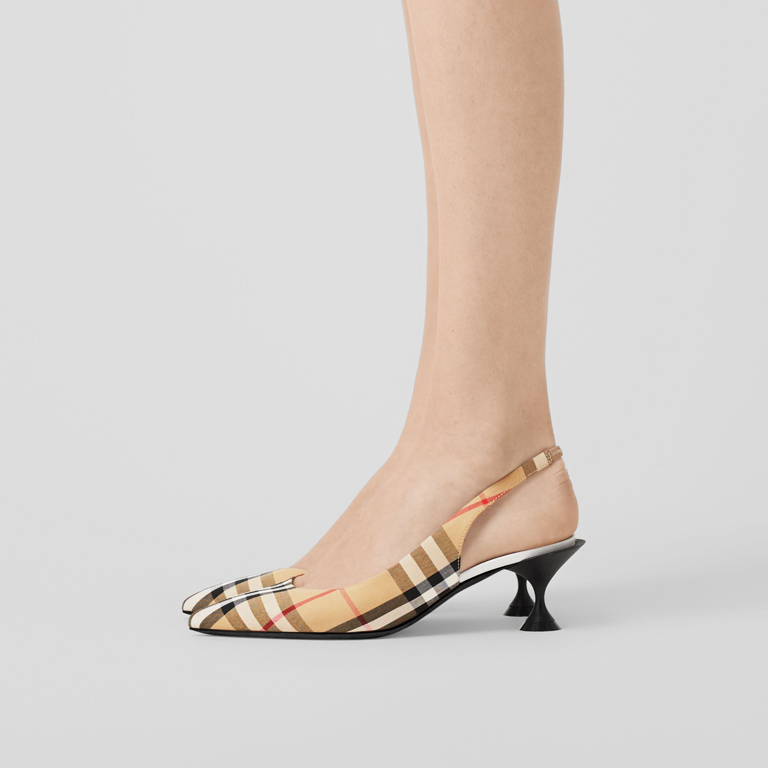 Vintage Check Slingback Pumps in Archive Beige - Women | Burberry Canada - 3