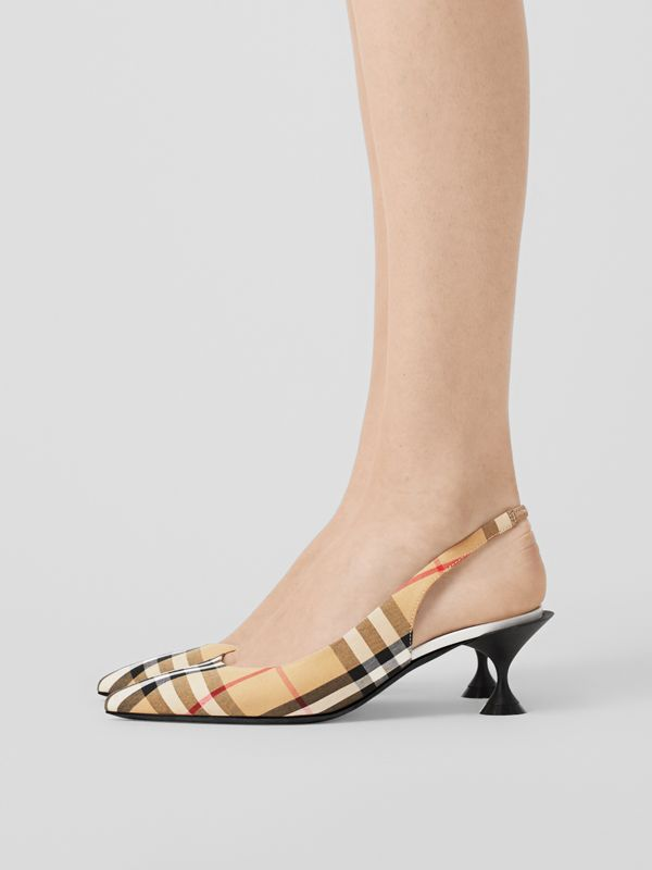Vintage Check Slingback Pumps in Archive Beige - Women | Burberry - cell image 2