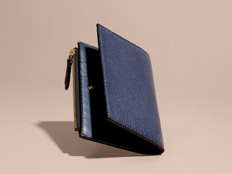 Leather Passport Wallet in Bright Navy | Burberry - cell image 4
