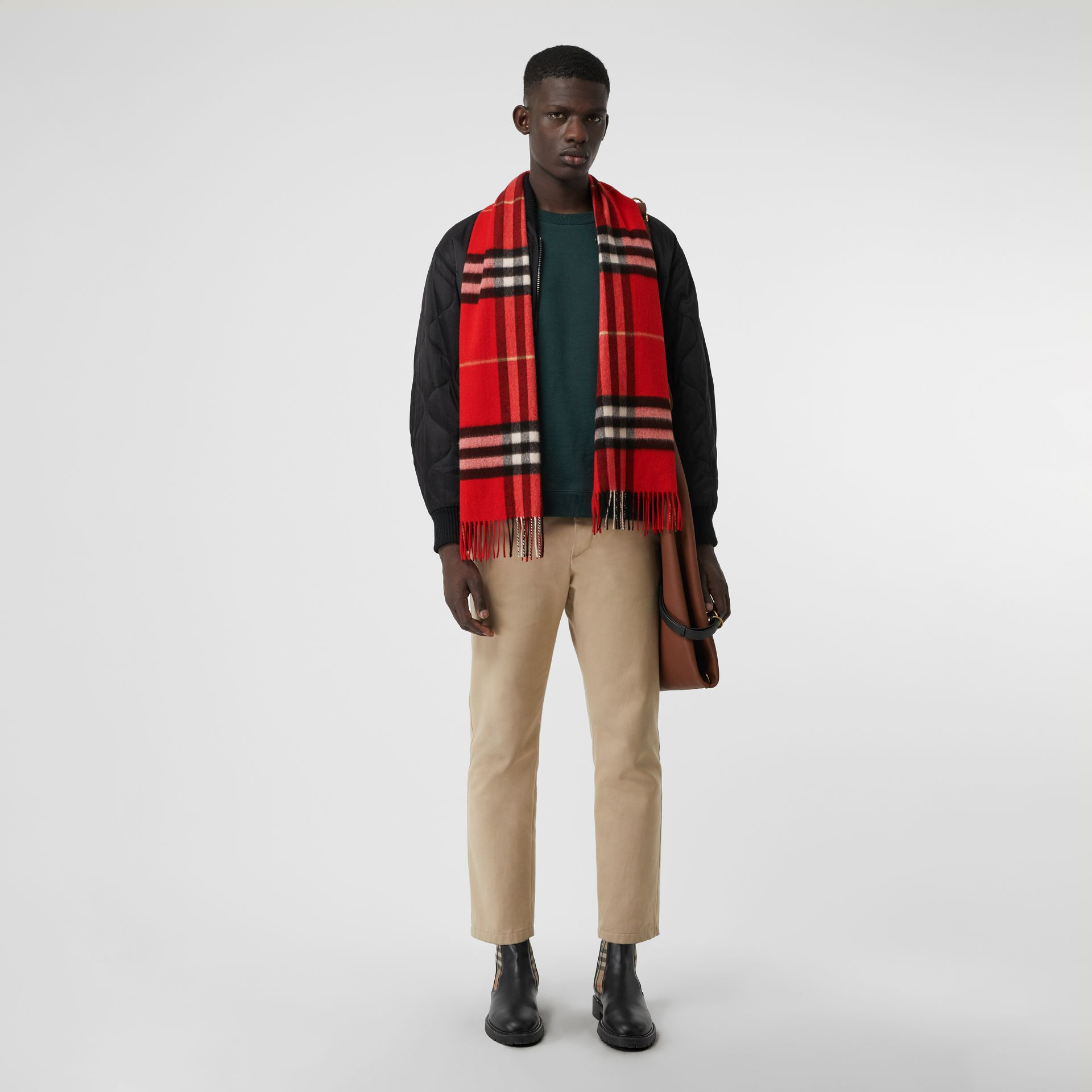 The Classic Check Cashmere Scarf in Bright Military Red | Burberry Canada - gallery image 3