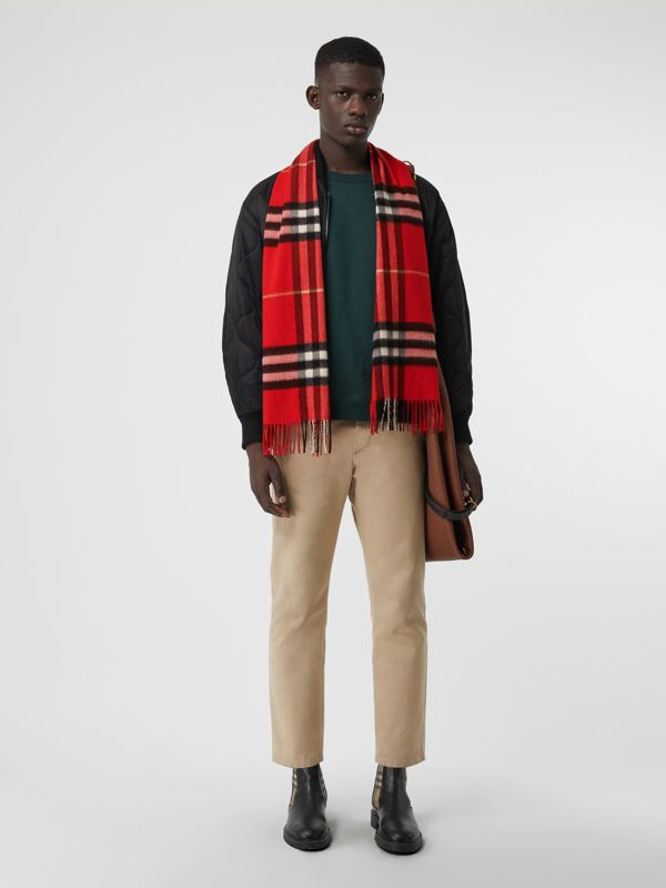 The Classic Check Cashmere Scarf in Bright Military Red | Burberry Canada - cell image 3