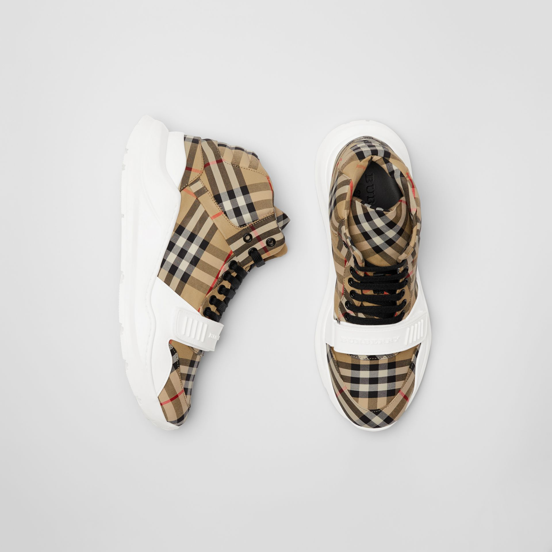 Vintage Check High-top Sneakers in Antique Yellow/optic White - Men | Burberry - gallery image 0