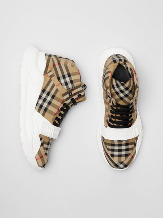 Vintage Check High-top Sneakers in Antique Yellow/optic White