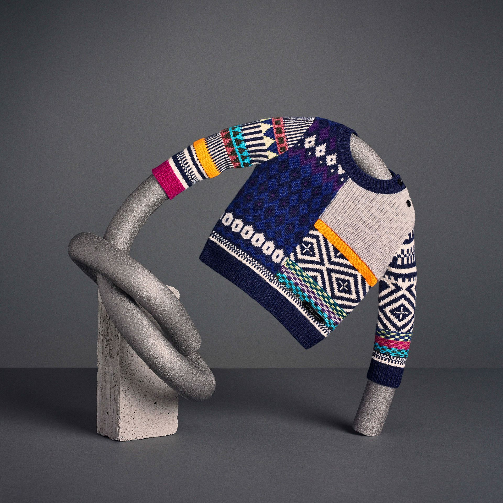Fair Isle Wool Cashmere Patchwork Sweater in Navy | Burberry - gallery image 5
