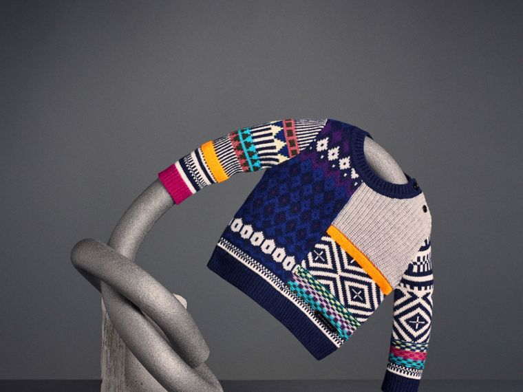 Fair Isle Wool Cashmere Patchwork Sweater in Navy | Burberry - cell image 4