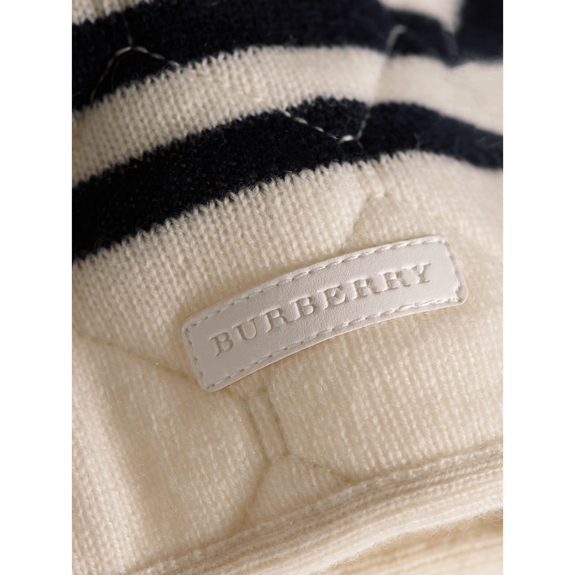 Quilted Striped Wool Cashmere Sweater in Natural White | Burberry Australia - gallery image 2
