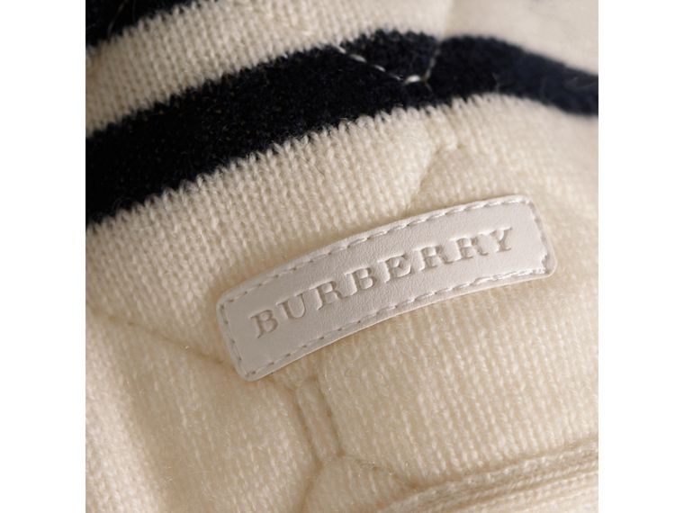 Quilted Striped Wool Cashmere Sweater in Natural White | Burberry - cell image 1