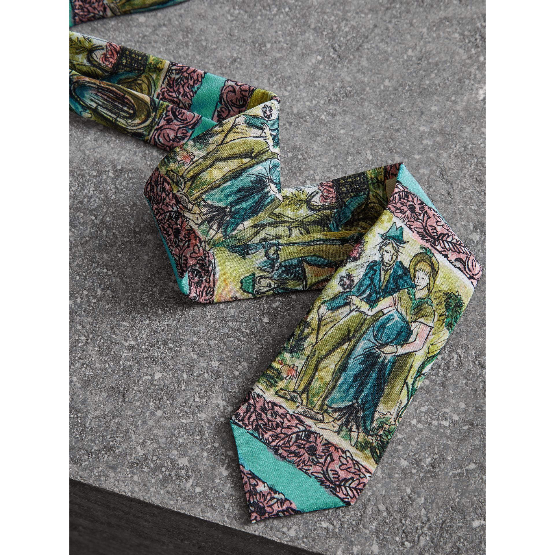 Slim Cut Figurative Print Silk Tie in Turquoise Green - Men | Burberry United Kingdom - gallery image 1