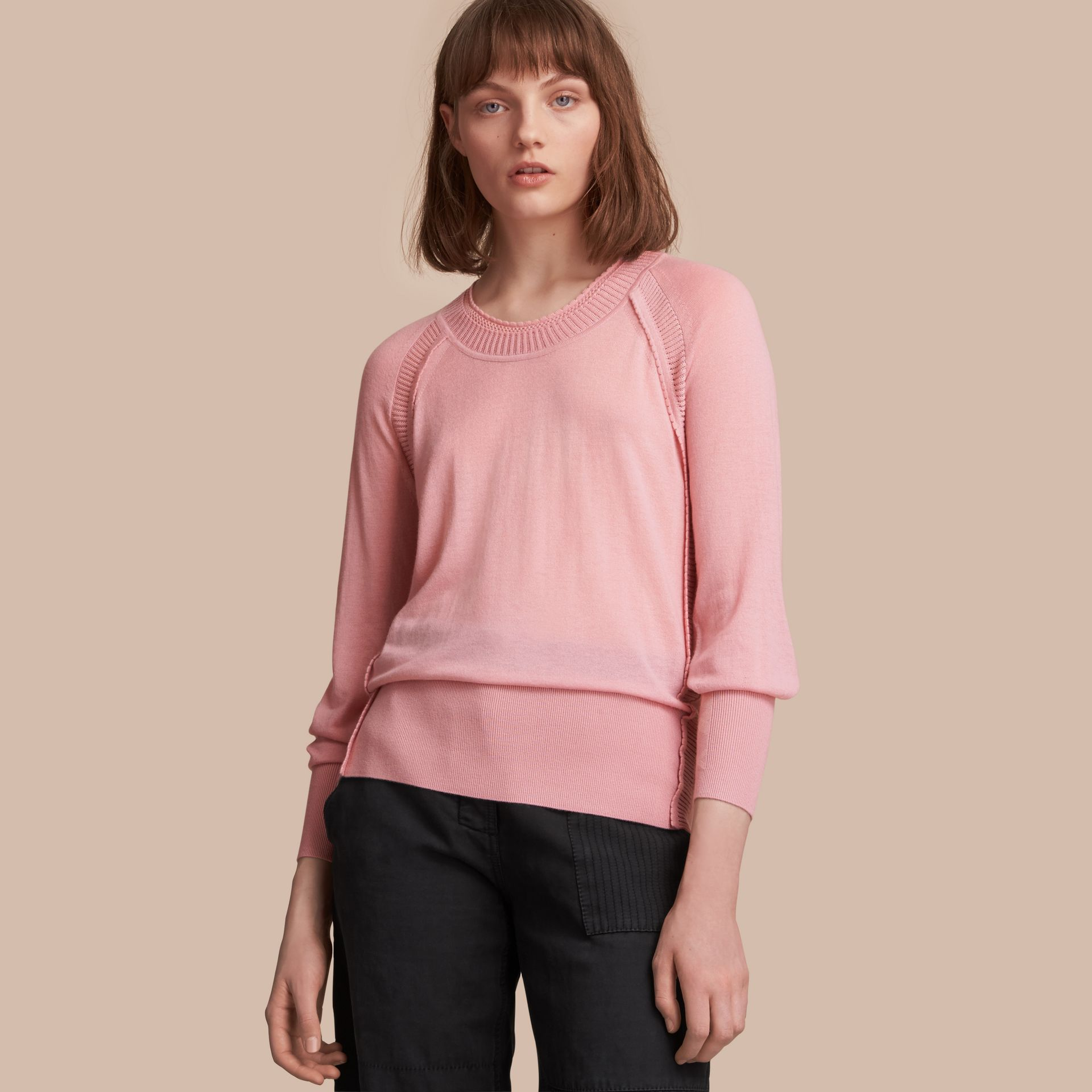 Open-knit Detail Cashmere Crew Neck Sweater in Apricot Pink - Women | Burberry - gallery image 1