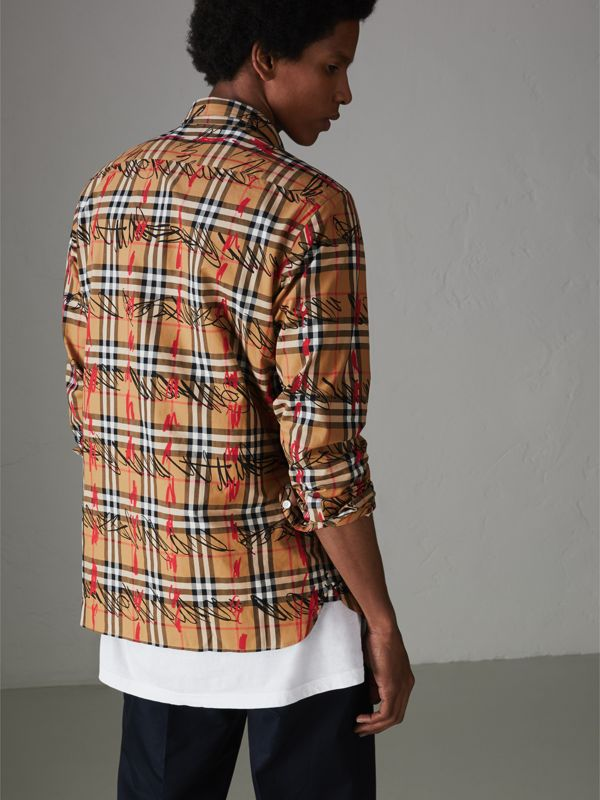 Scribble Check Cotton Shirt in Antique Yellow - Men | Burberry Canada - cell image 2