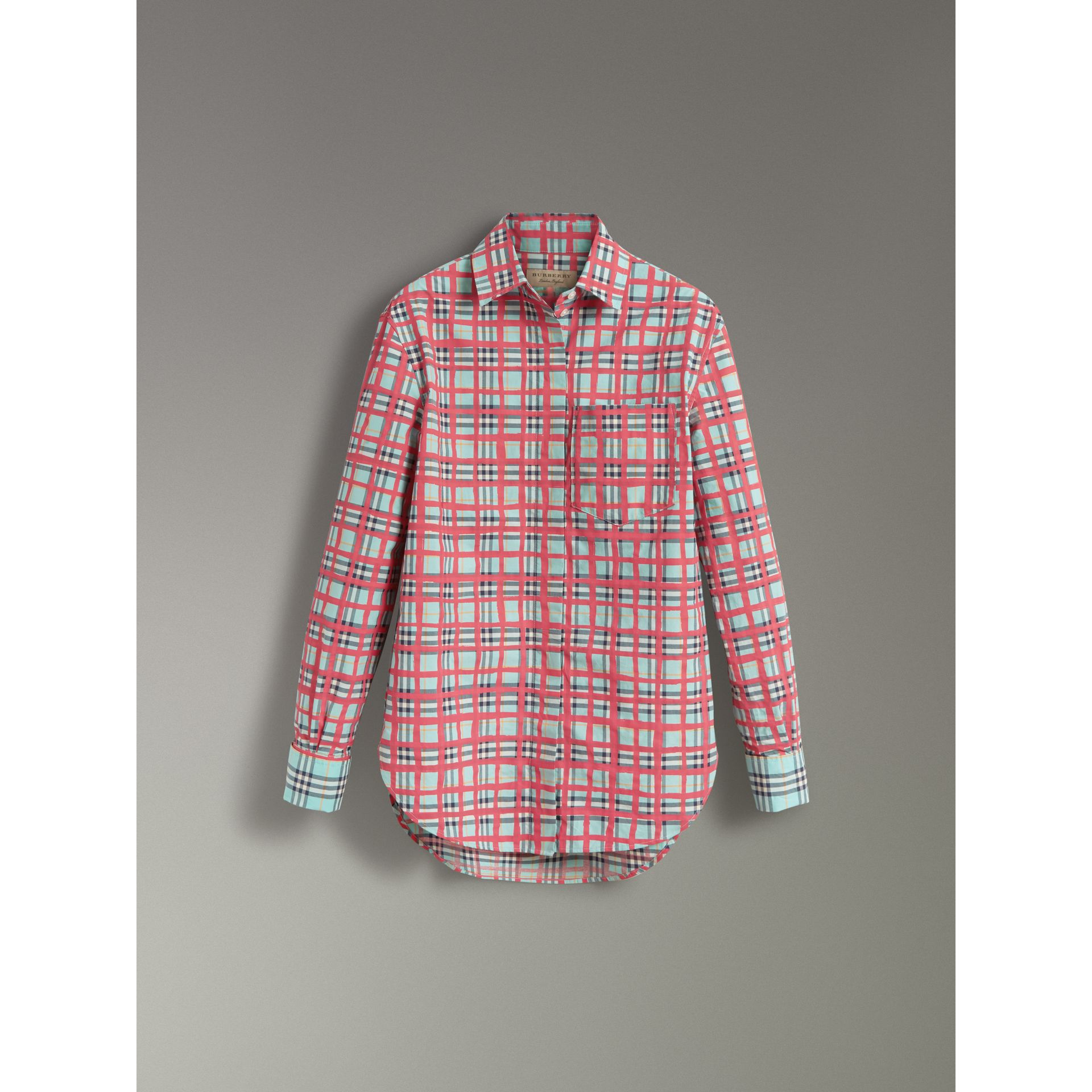 Painted Check Cotton Shirt in Bright Aqua - Women | Burberry - gallery image 3