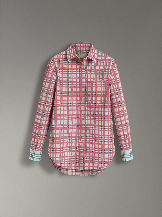 Check Cotton Shirt in Bright Aqua - Women | Burberry United Kingdom - cell image 3