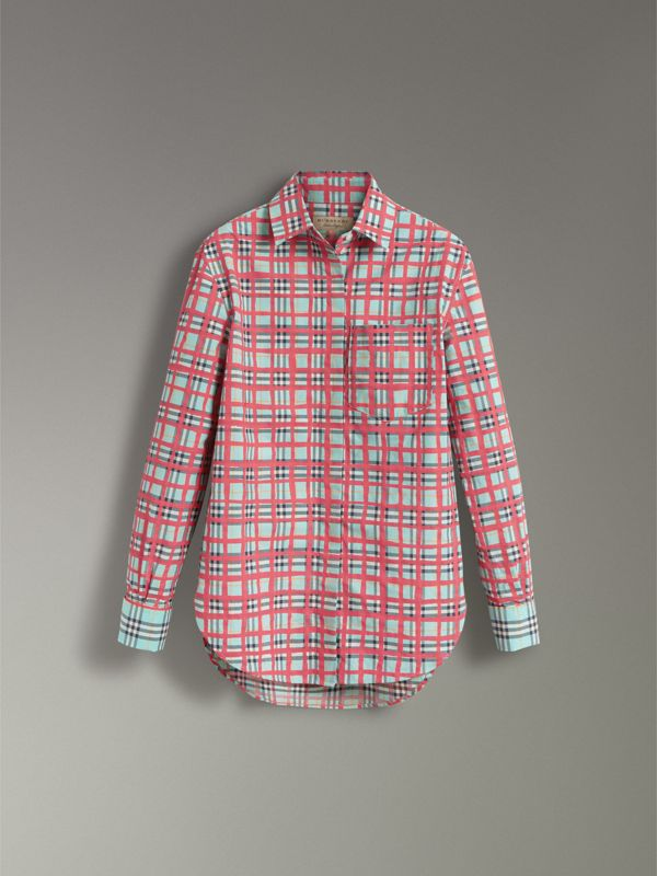 Painted Check Cotton Shirt in Bright Aqua - Women | Burberry - cell image 3