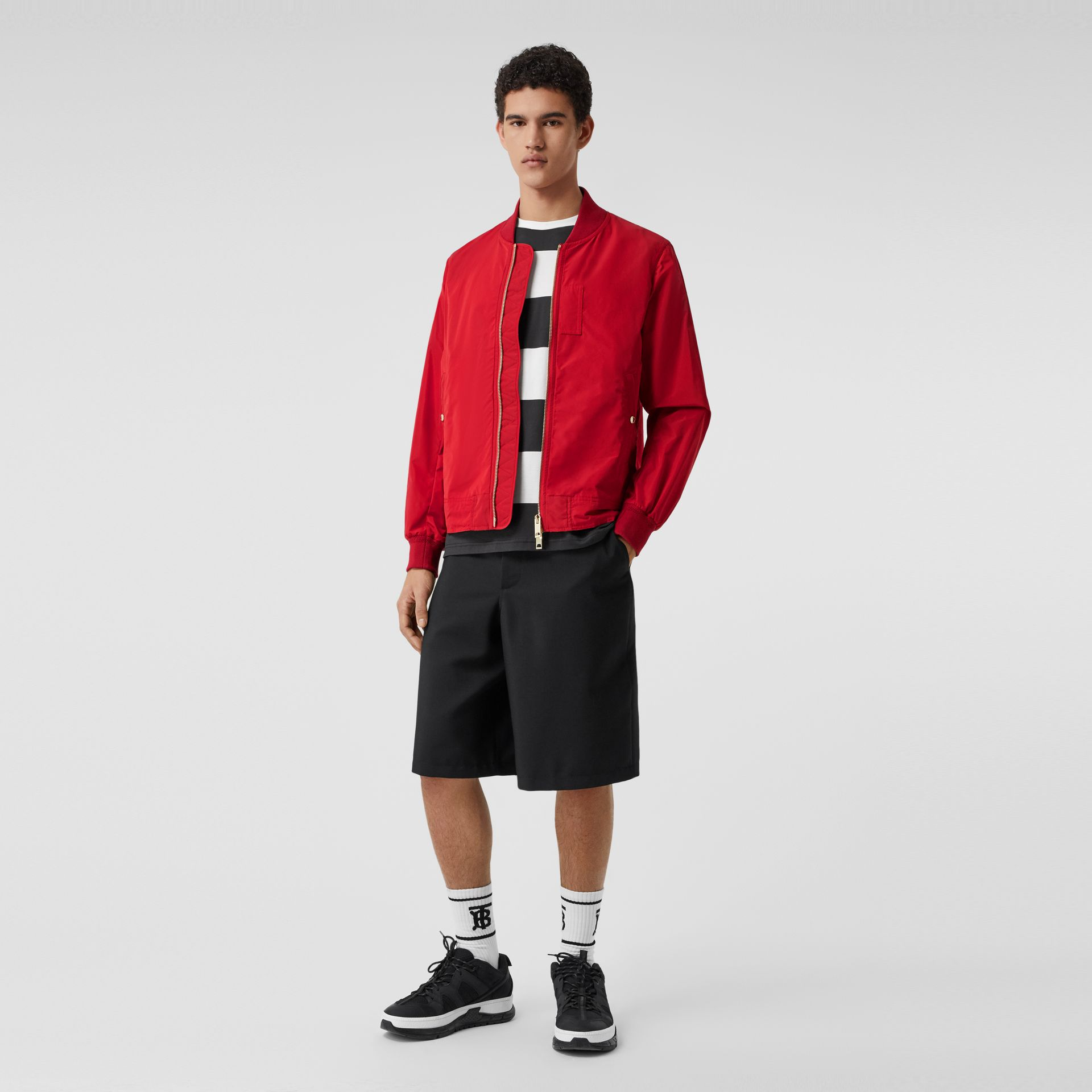 Logo Print Shape-memory Taffeta Bomber Jacket in Military Red - Men | Burberry - gallery image 0