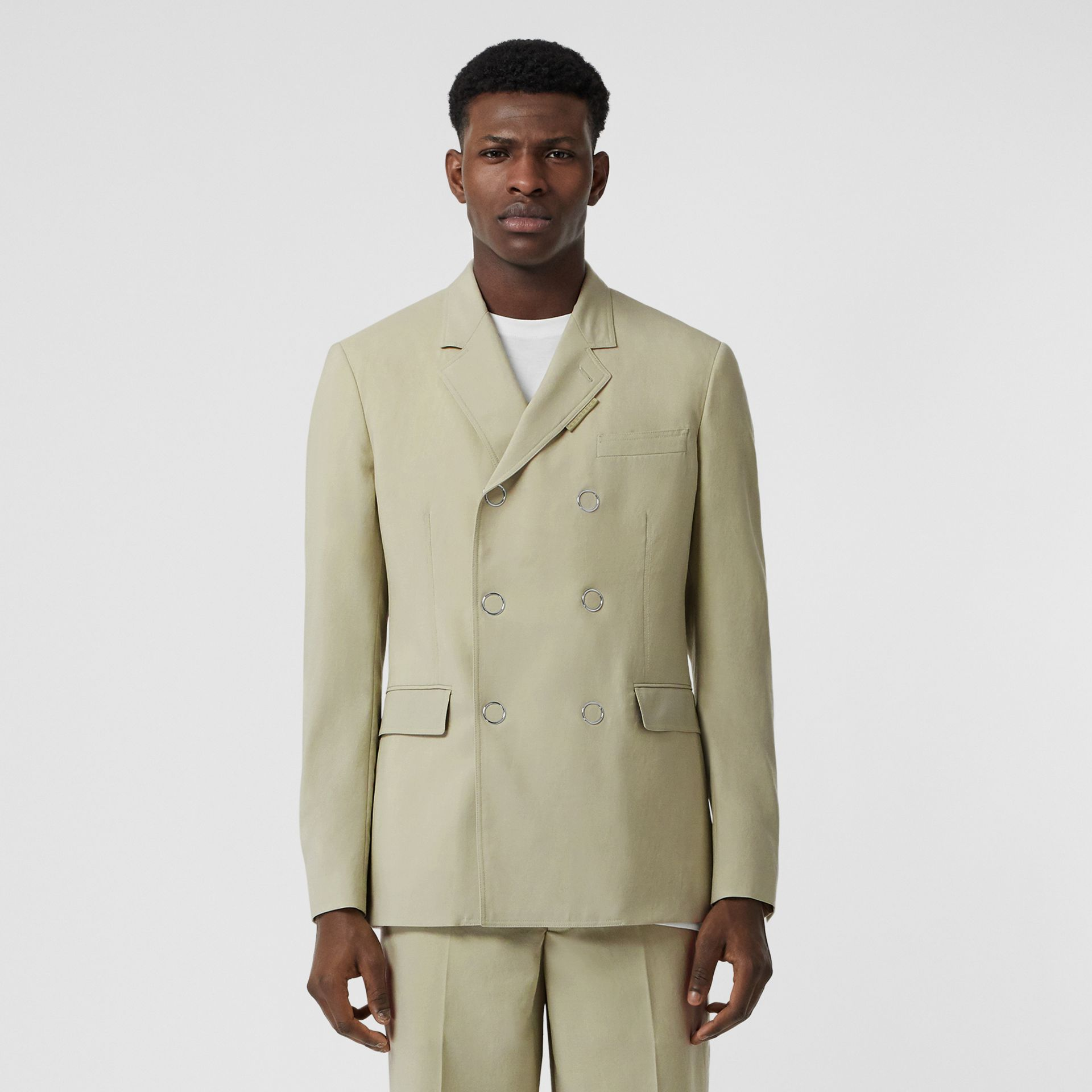 Slim Fit Press-stud Wool Tailored Jacket in Matcha | Burberry Australia - gallery image 0
