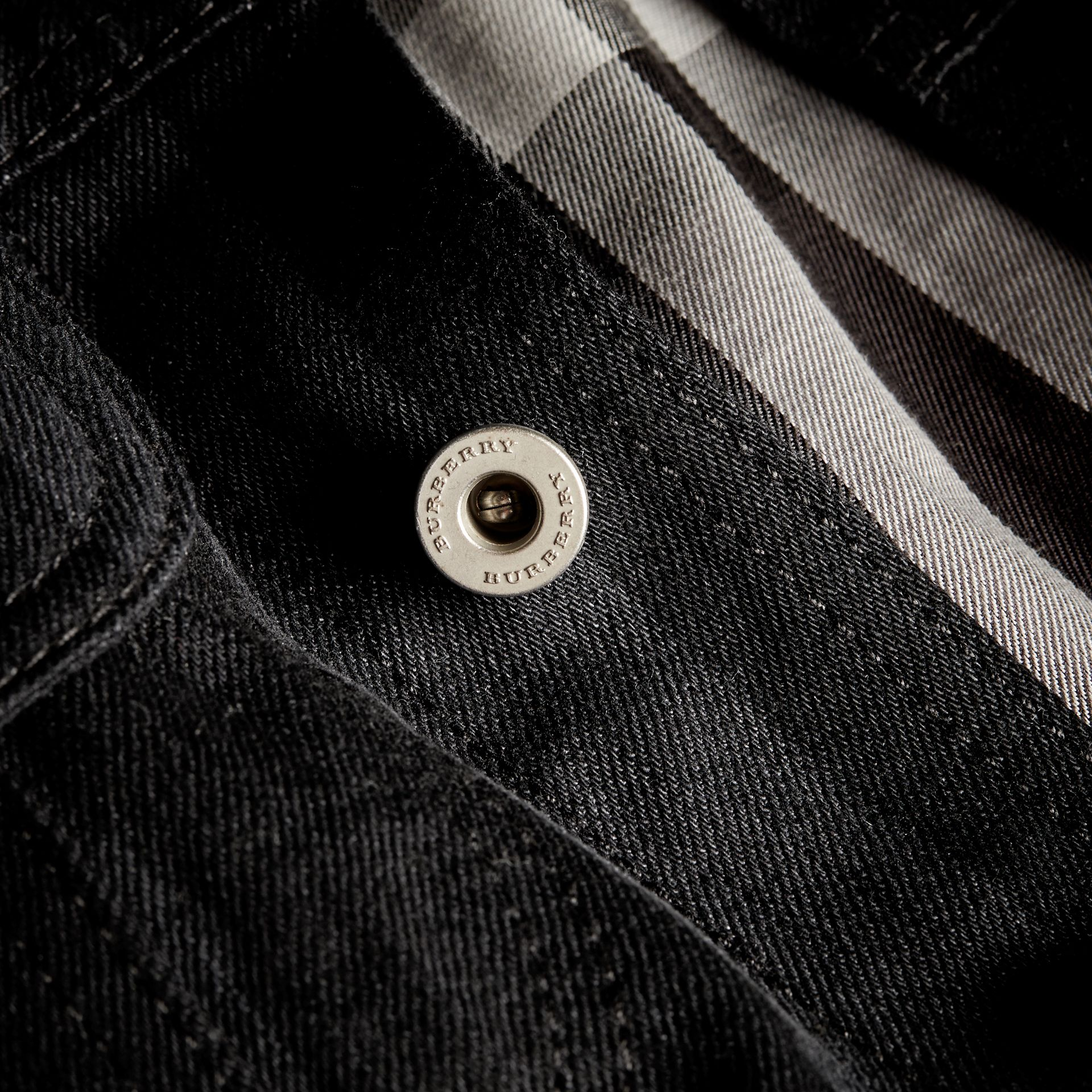 Black Striped Raw Denim Jacket - gallery image 2