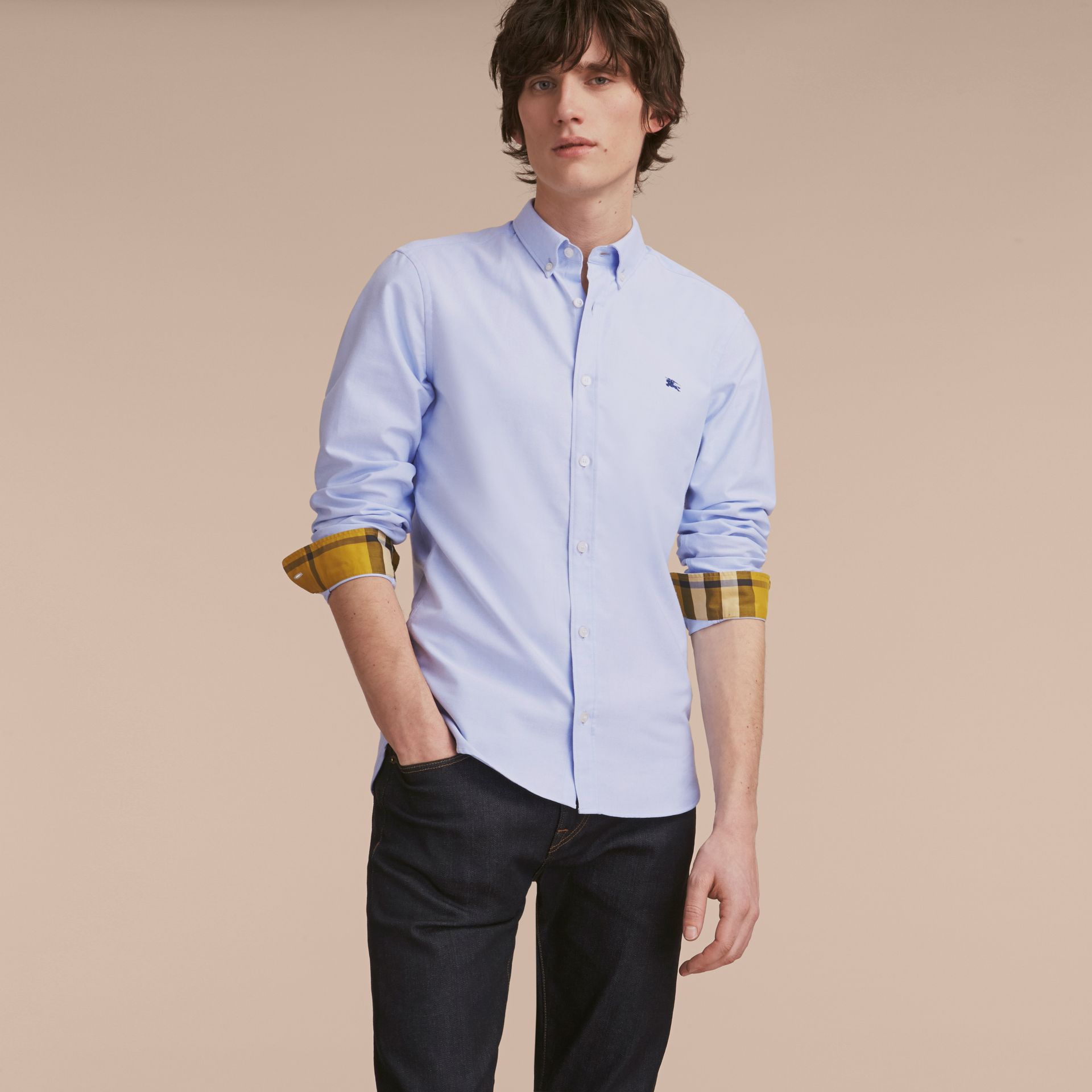 Button-down Collar Cotton Oxford Shirt with Check Detail Cornflower Blue - gallery image 6