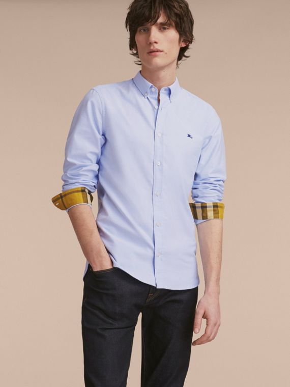 Button-down Collar Cotton Oxford Shirt with Check Detail Cornflower Blue