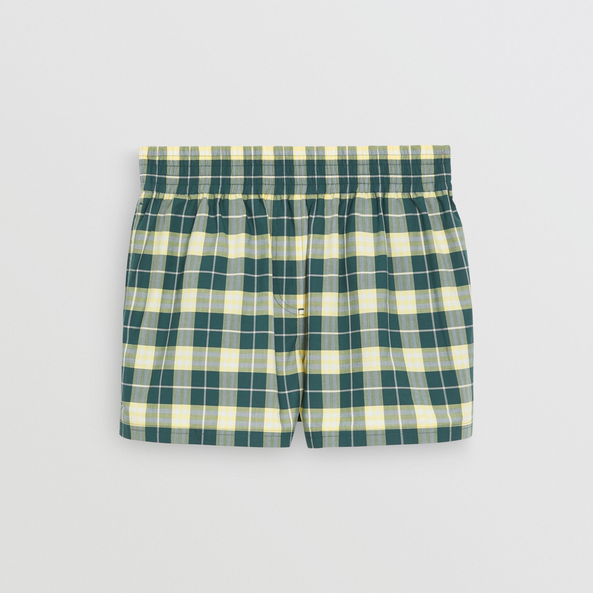 Check Cotton High-waisted Shorts in Dark Cedar - Women | Burberry - gallery image 3