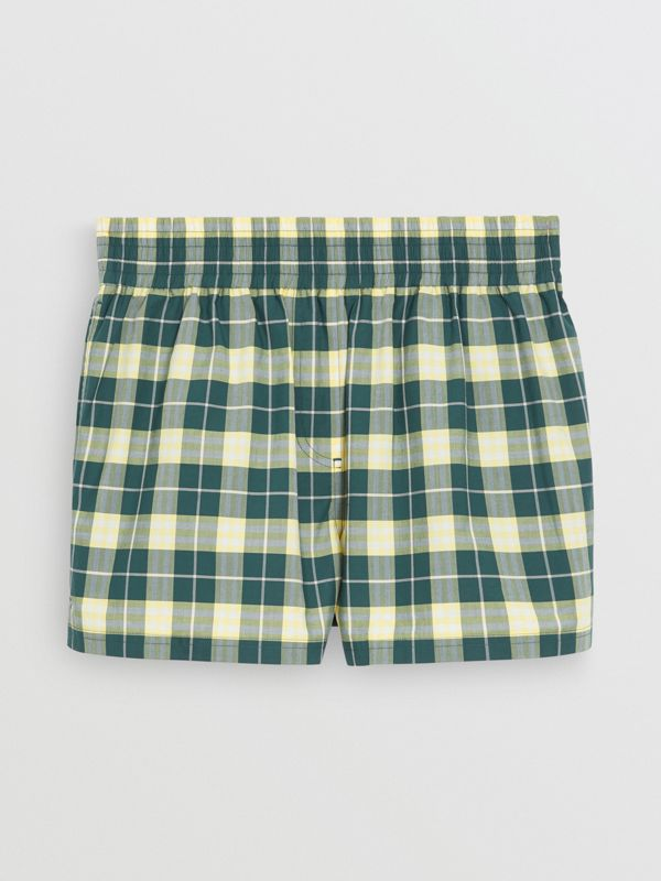 Check Cotton High-waisted Shorts in Dark Cedar - Women | Burberry - cell image 3