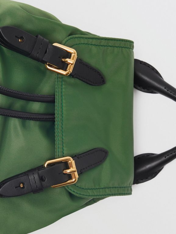 The Small Crossbody Rucksack in Nylon in Racing Green - Women | Burberry Australia - cell image 1