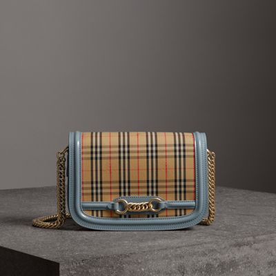 Patent Leather-Trimmed Checked Canvas Shoulder Bag in Neutral