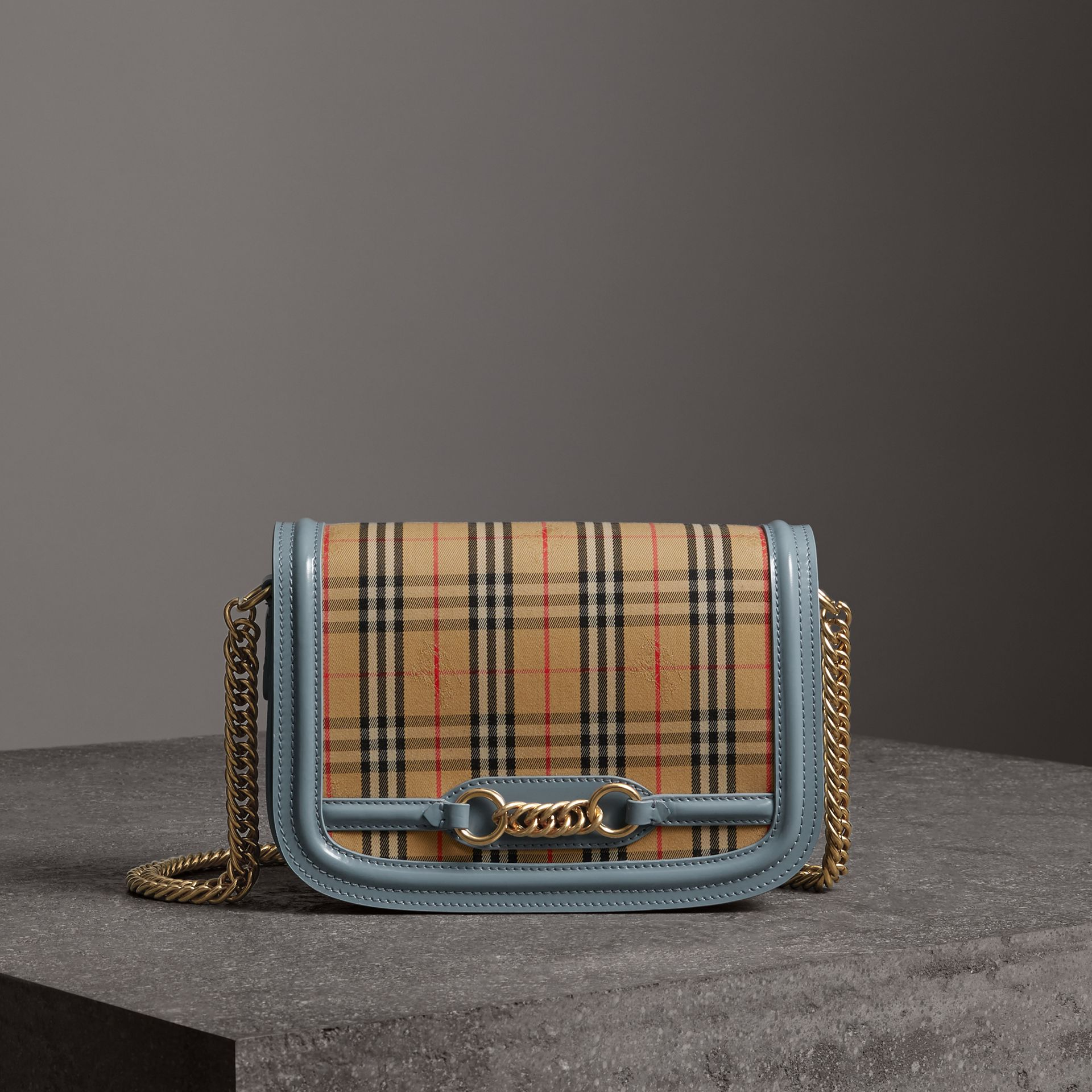 The 1983 Check Link Bag with Patent Trim in Blue Sage - Women | Burberry Singapore - gallery image 0