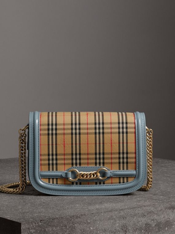 The 1983 Check Link Bag with Patent Trim in Blue Sage