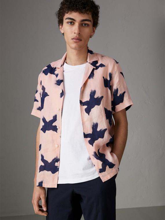Льняная рубашка с принтом Picnic (Розовый Абрикос)