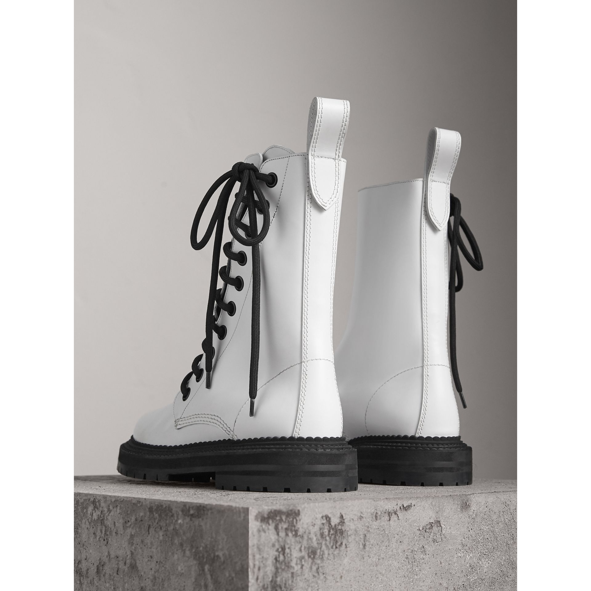 Leather Asymmetric Lace-up Boots in Optic White - Women | Burberry Canada - gallery image 3
