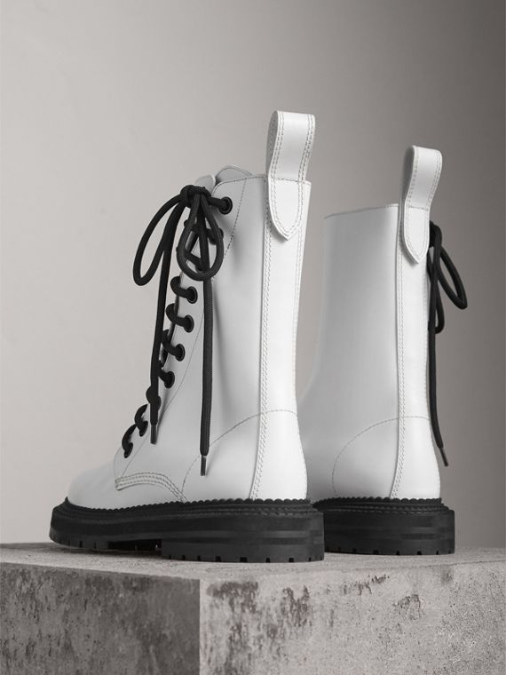 Leather Asymmetric Lace-up Boots in Optic White - Women | Burberry Canada - cell image 3