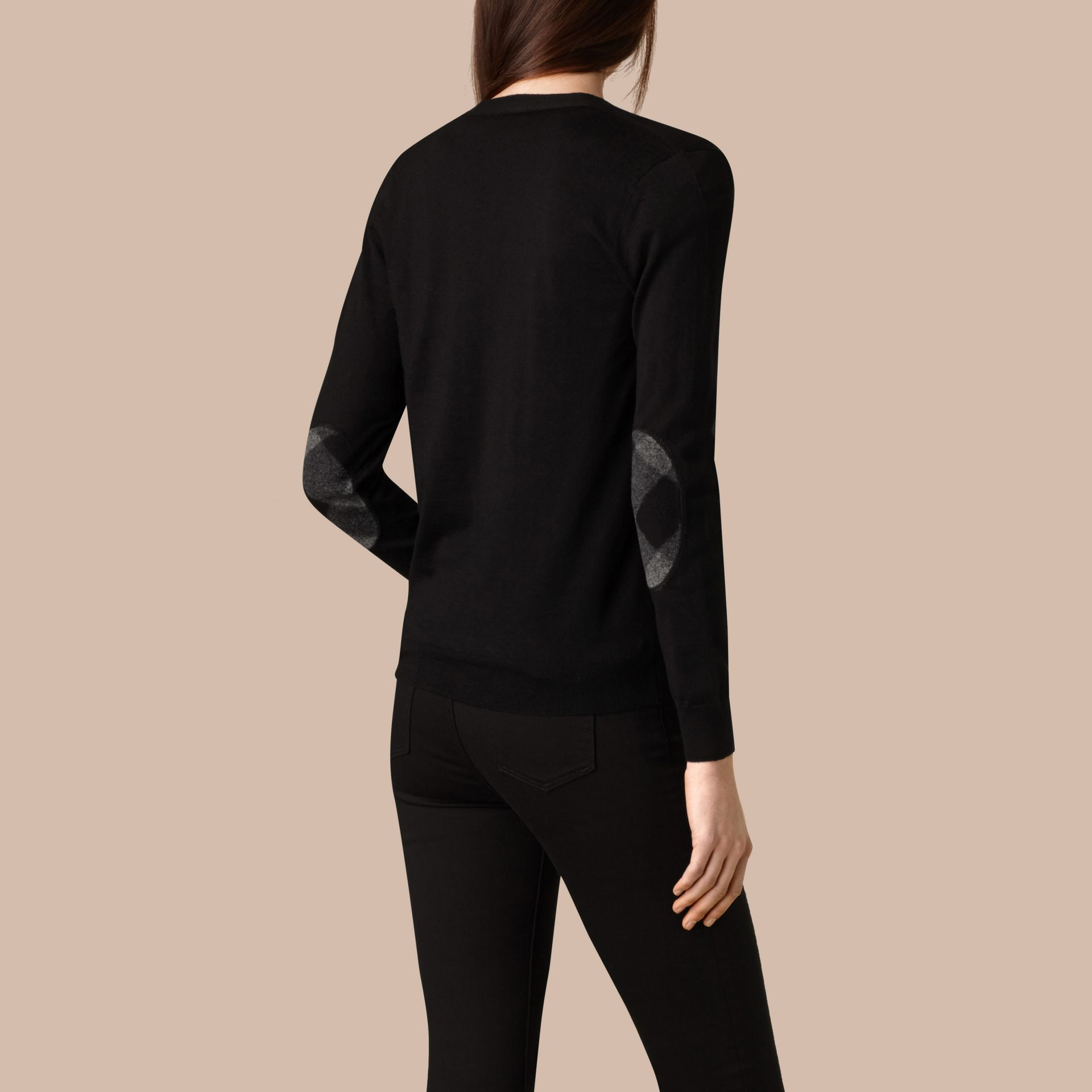 Check Detail Merino Wool Cardigan in Black - gallery image 3