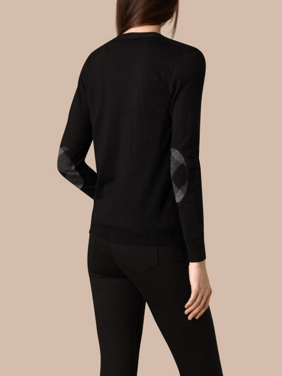 Check Detail Merino Wool Cardigan in Black - cell image 2