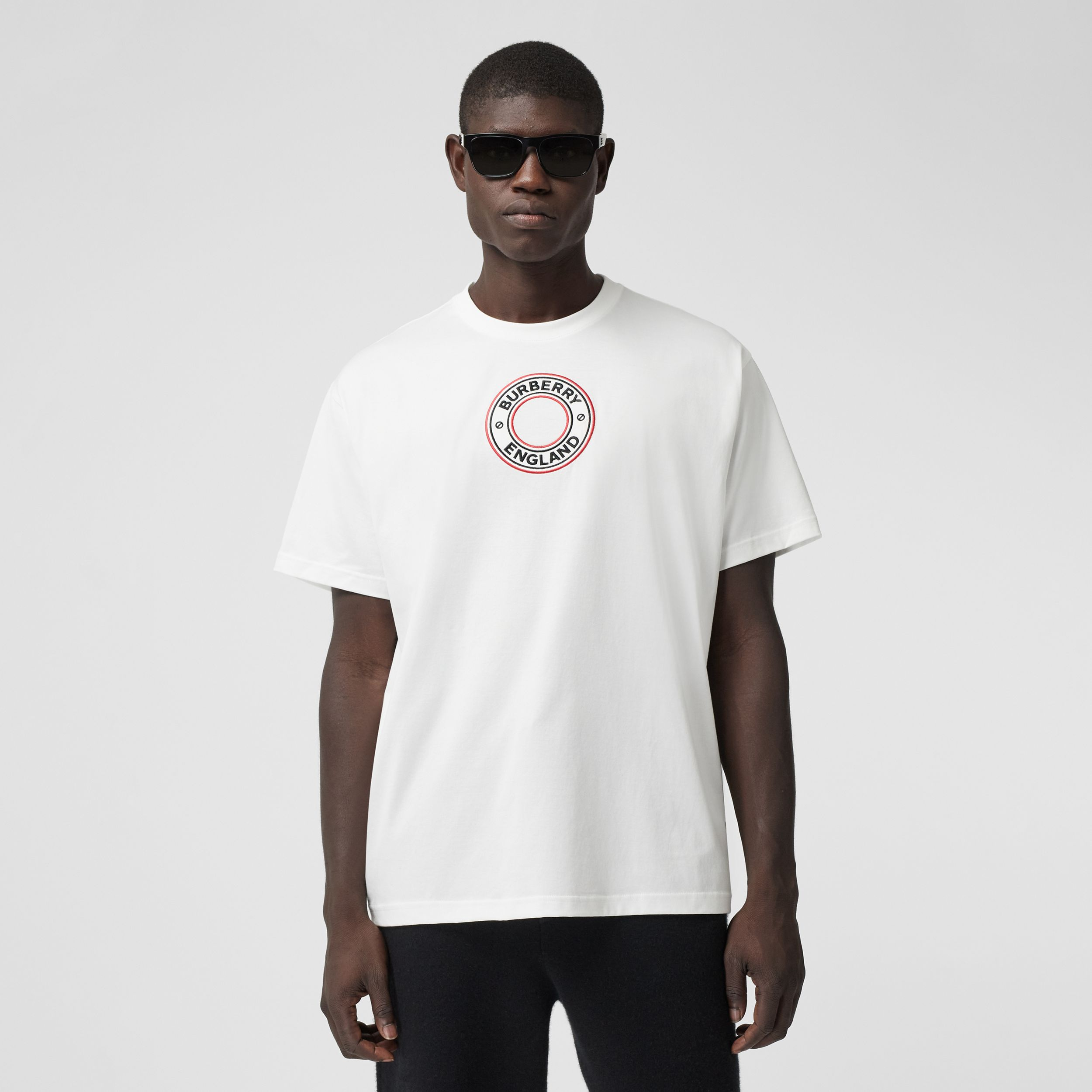 Logo Graphic Appliqué Cotton Oversized T-shirt in White - Men | Burberry - 1