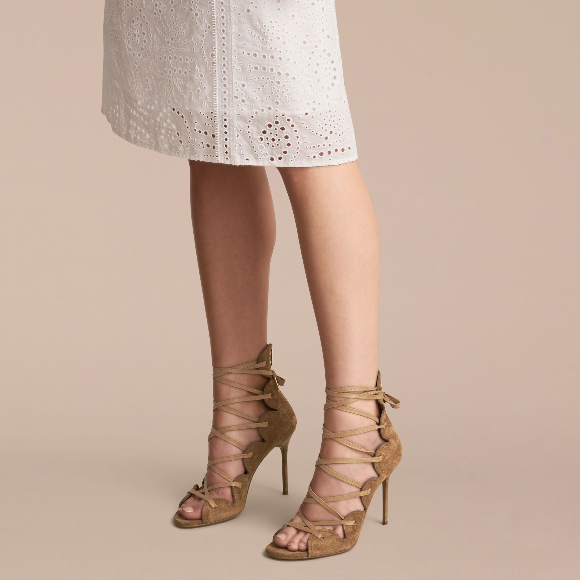 Scalloped Suede Lace-up Sandals in Sandstone - Women | Burberry - gallery image 3