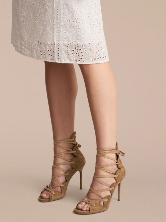 Scalloped Suede Lace-up Sandals in Sandstone - Women | Burberry - cell image 2
