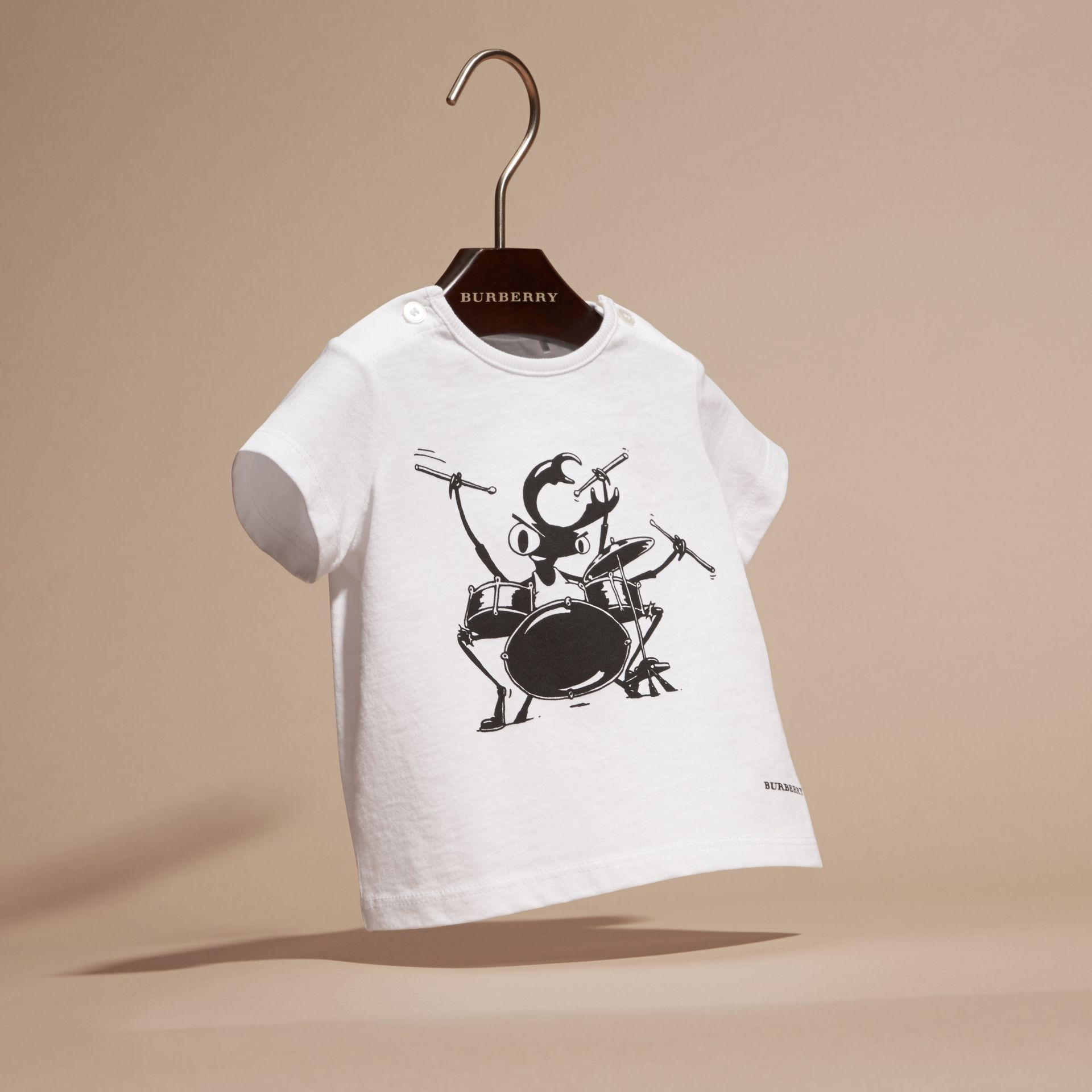 White Beetle Motif Cotton T-shirt - gallery image 3