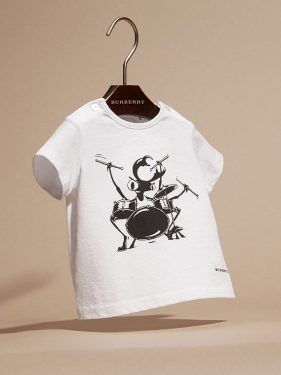 Bianco T-shirt in cotone con scarabeo - cell image 2
