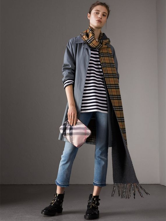 Large Zip-top Check Pouch in Ash Rose - Women | Burberry United Kingdom - cell image 2
