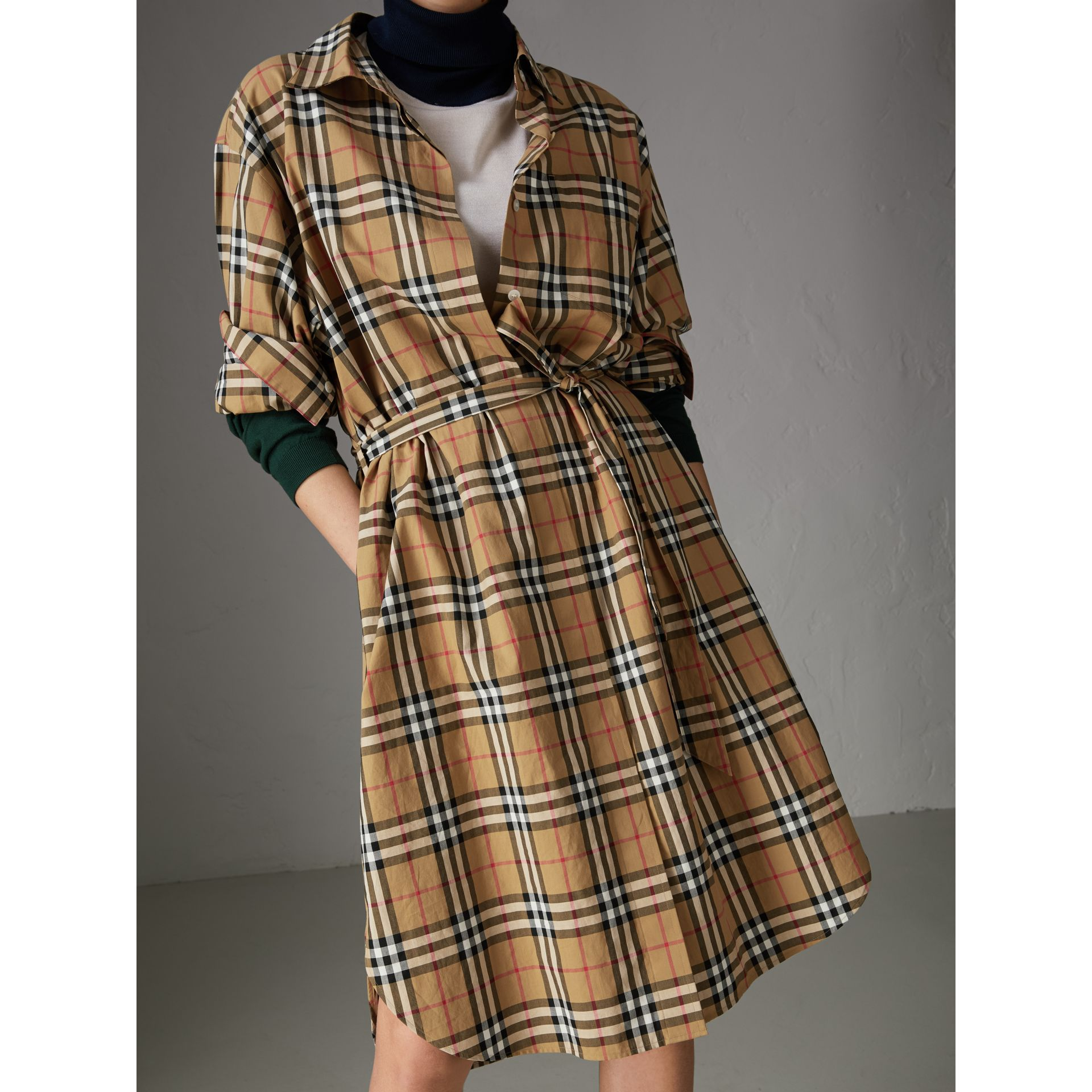 Tie-waist Vintage Check Cotton Shirt Dress in Antique Yellow - Women | Burberry Canada - gallery image 1