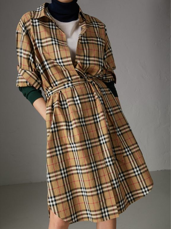 Vintage Check Cotton Tie-waist Shirt Dress in Antique Yellow | Burberry Singapore - cell image 1
