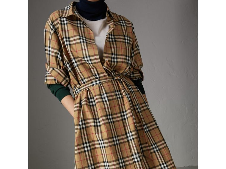 Tie-waist Vintage Check Cotton Shirt Dress in Antique Yellow - Women | Burberry - cell image 1