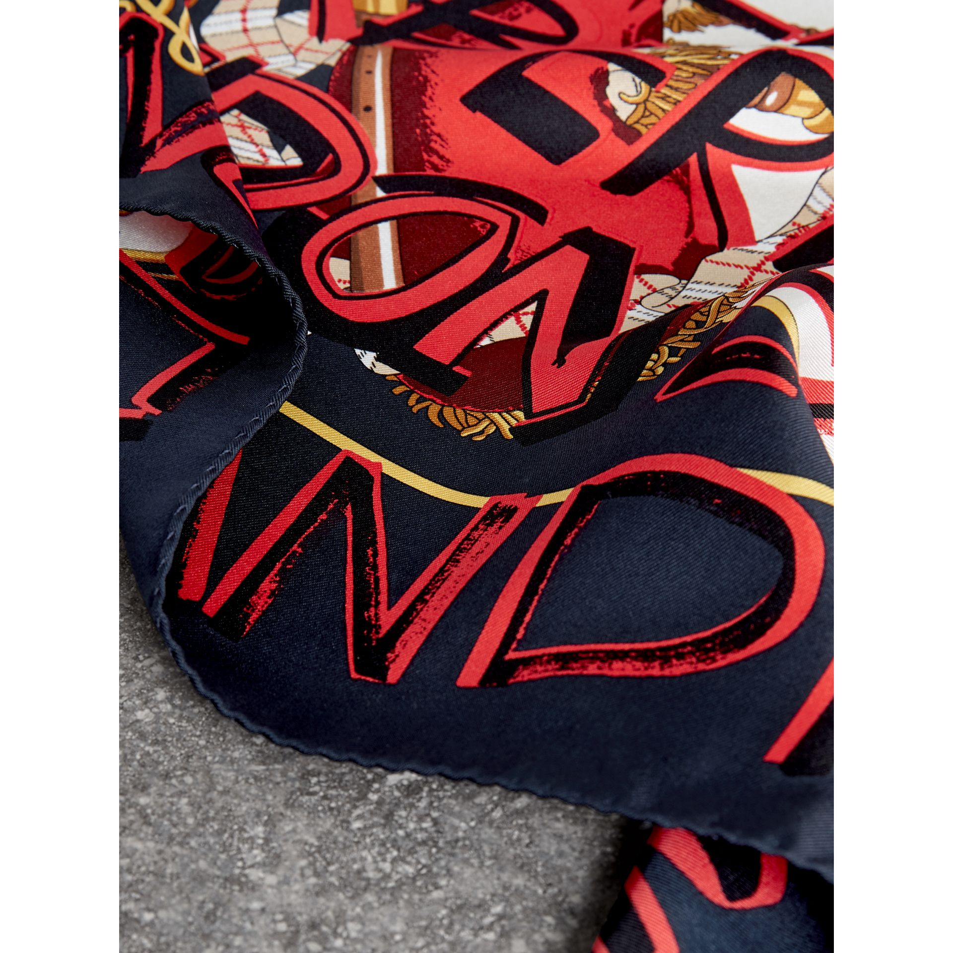 Graffiti Archive Scarf Print Silk Square Scarf in Navy | Burberry - gallery image 1